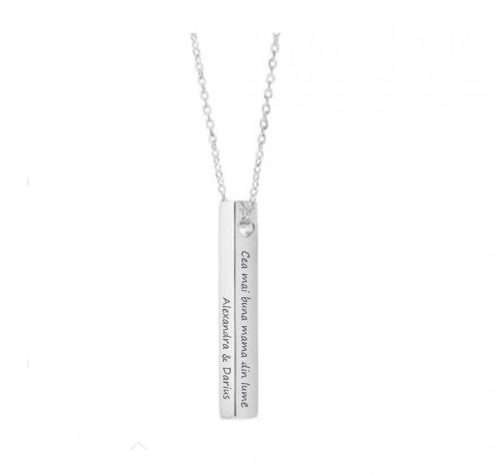 Lantisor argint personalizat gravura text - Pandativ 3D argint 925 rodiat [0]
