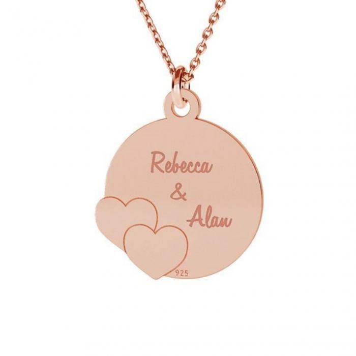 Lantisor cu inimioare personalizat Argint 925 placat aur roz [0]