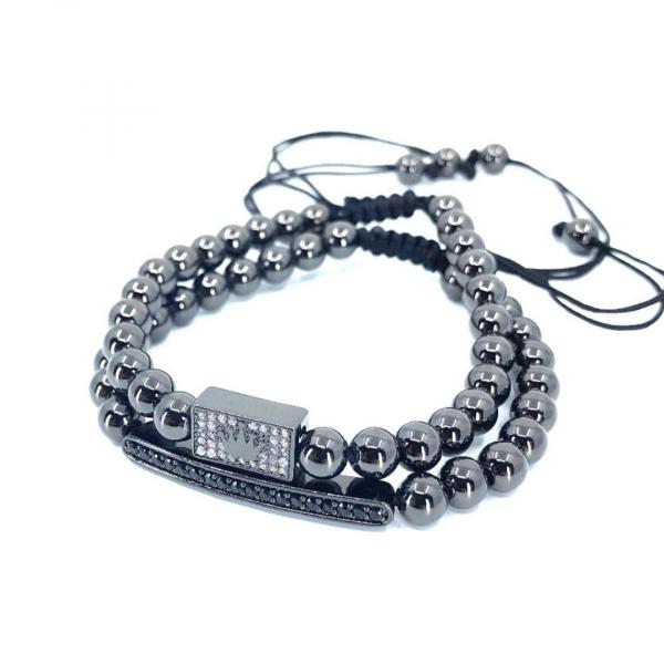 Set 2 bratari fashion Luxury Black Crown inox snur reglabil unisex 0