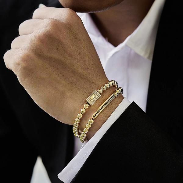 Set 2 bratari fashion Luxury Gold Crown inox snur reglabil unisex [1]