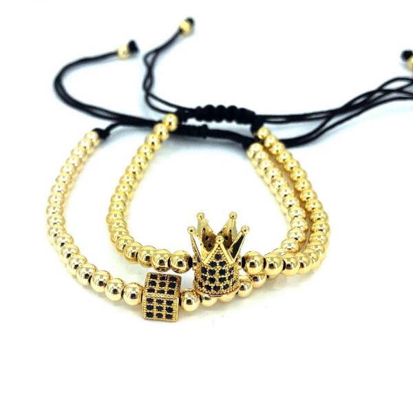 Set 2 bratari unisex Gold Crown snur reglabil margele inox 4 mm 0