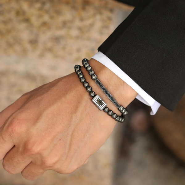 Set 2 bratari fashion Luxury Black Crown inox snur reglabil unisex 1