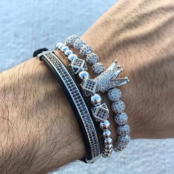 Set 3 bratari barbati Luxury Silver inox snur reglabil 1