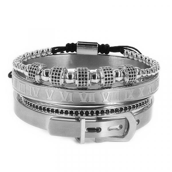 Set bratari inox barbati snur reglabil Luxury Silver [0]