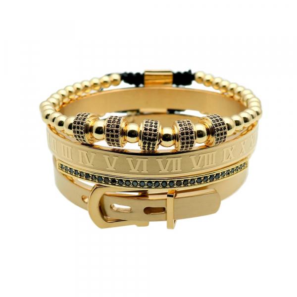 Set 4 bratari barbatesti Luxury Gold inox culoare aurie 0