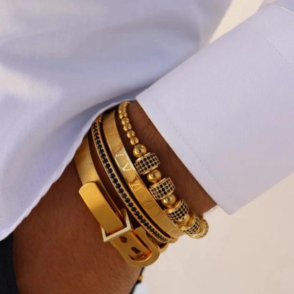 Set 4 bratari barbatesti Luxury Gold inox culoare aurie 1