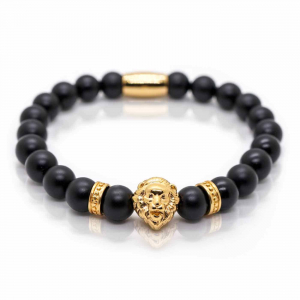 Bratara barbati cap de leu auriu pietre semipretioase onix snur elastic0