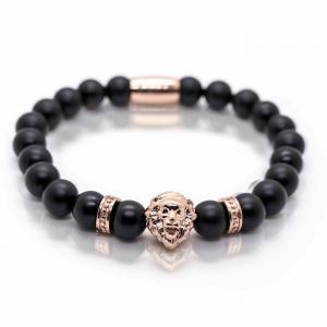 Bratara barbati cap de leu rose gold pietre semipretioase onix snur elastic0