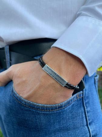 Bratara barbati piele impletita placuta Argint 925 gravata 35 mm [1]