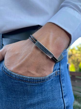 Bratara barbati piele si placuta Argint 925 personalizata 35 mm [1]