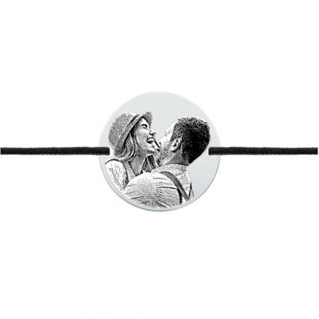 Bratara gravata cu poza cuplu - Banut argint, bratara snur0