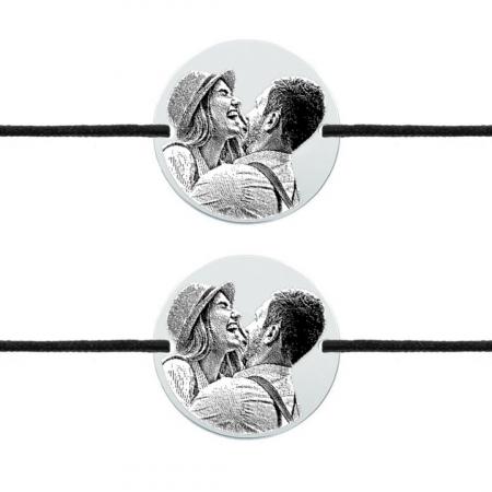 Bratari cuplu personalizate - Banut gravat cu poza, bratari cu snur0