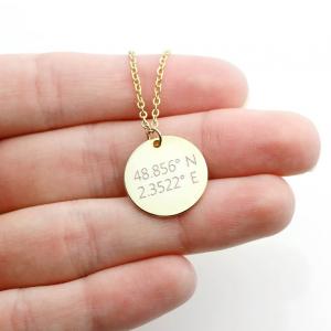 Colier personalizat gravura text - Banut argint 925 placat aur 24K [2]