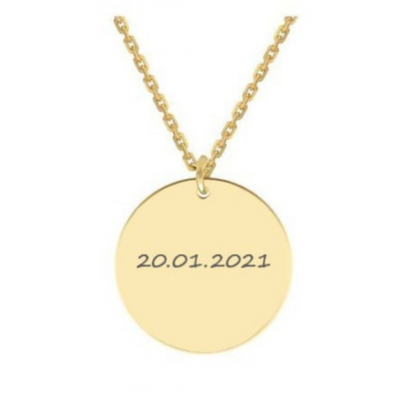 Colier personalizat gravura text - Banut argint 925 placat aur 24K [0]