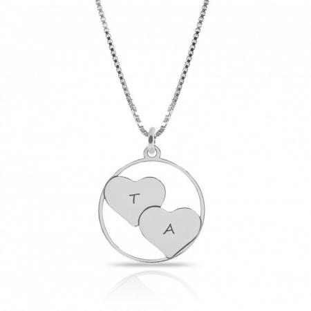 Lantisor argint cu pandantiv inimioara personalizat cu initiale [0]