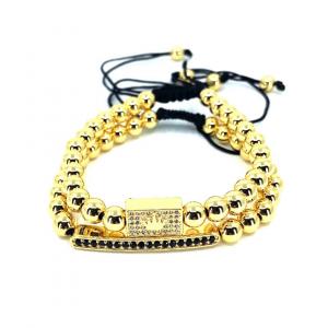 Set 2 bratari fashion Luxury Gold Crown inox snur reglabil unisex [0]