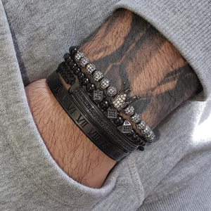 Set bratari barbati snur reglabil Luxury Black [1]