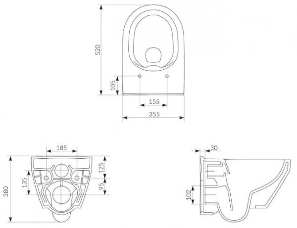 ALL IN ONE Incastrat - Cersanit Crea Oval CleanON - Capac soft and slim, clapeta sticla neagra 4