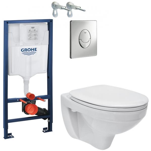 ALL IN ONE Incastrat - Grohe + Cersanit Delphi - Gata de montaj - Vas wc Suspendat Cersanit Delphi + Capac softclose + Rezervor Grohe 0