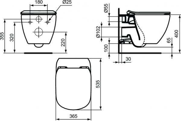 ALL IN ONE Incastrat - Grohe + Ideal Standard Tesi Aquablade + Paffoni - Cu dus Igienic - Gata de montaj - Vas wc Suspendat Ideal Standard Tesi Aquablade + Capac softclose + Rezervor Grohe 11
