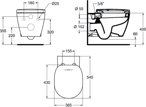 ALL IN ONE Incastrat - Grohe + Paffoni + Connect - Cu functie bideu - Gata de montaj - Vas wc Ideal Standard Connect cu functie bideu + Capac softclose + Rezervor Grohe + Baterie incastrata bideu Paff 8