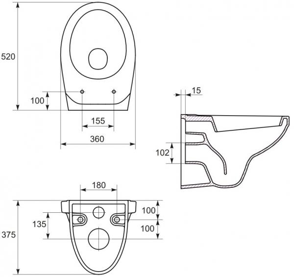 ALL IN ONE Incastrat - Ideal Standard + Cersanit Delphi - Cu dus Igienic - Gata de montaj - Vas wc Suspendat Cersanit Delphi + Capac softclose + Rezervor Ideal Standard 3