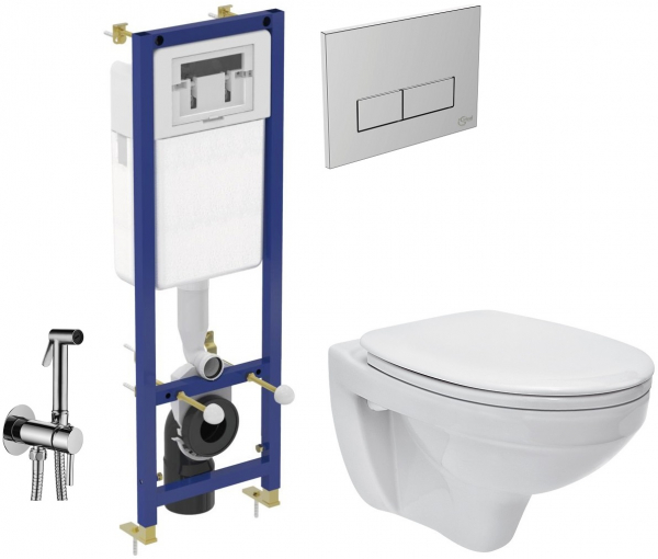 ALL IN ONE Incastrat - Ideal Standard + Cersanit Delphi - Cu dus Igienic - Gata de montaj - Vas wc Suspendat Cersanit Delphi + Capac softclose + Rezervor Ideal Standard 0