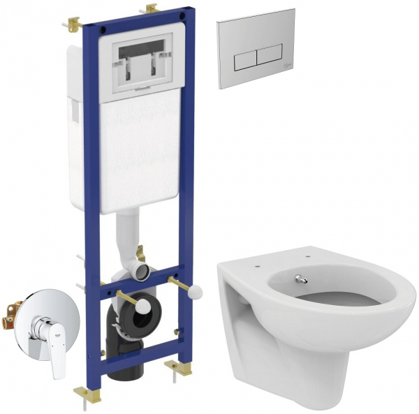 ALL IN ONE Incastrat - Ideal Standard + Grohe + Eurovit - Cu functie bideu - Gata de montaj - Vas wc Ideal Standard Eurovit cu functie bideu + Capac softclose + Rezervor Ideal Standard + Baterie incas 0