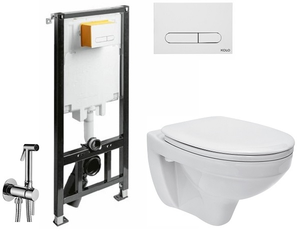 ALL IN ONE Incastrat - KOLO + Cersanit Delphi - Cu dus Igienic - Gata de montaj - Vas wc Suspendat Cersanit Delphi + Capac softclose + Rezervor KOLO [0]