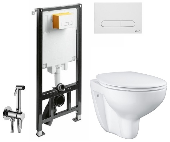 ALL IN ONE Incastrat - Kolo + Grohe Bau Ceramic Rimless + Paffoni - Cu dus Igienic 0