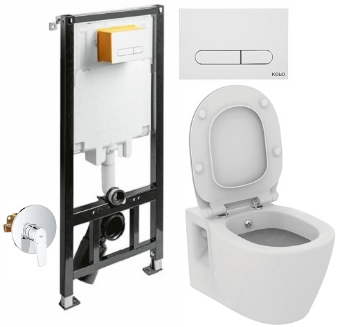 ALL IN ONE Incastrat - KOLO + Grohe + Connect - Cu functie bideu - Gata de montaj - Vas wc Ideal Standard Connect cu functie bideu + Capac softclose + Rezervor KOLO + Baterie incastrata Grohe 0