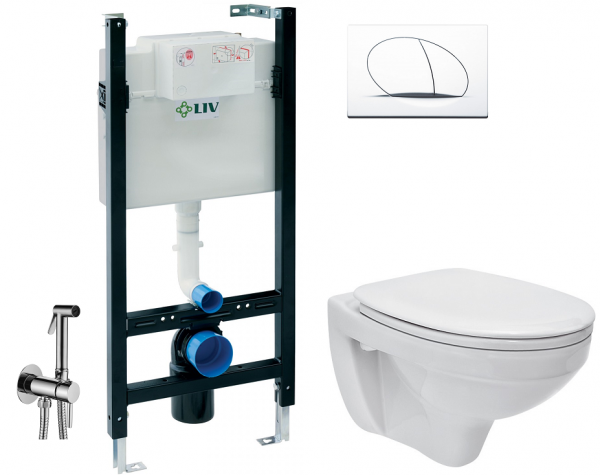 ALL IN ONE Incastrat - LIV + Cersanit Delphi - Cu dus Igienic - Gata de montaj - Vas wc Suspendat Cersanit Delphi + Capac softclose + Rezervor LIV [0]