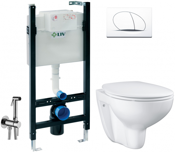 ALL IN ONE Incastrat - LIV + Grohe Bau Ceramic Rimless + Paffoni - Cu dus Igienic 0
