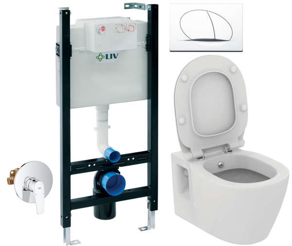 ALL IN ONE Incastrat - LIV + Grohe + Connect - Cu functie bideu - Gata de montaj - Vas wc Ideal Standard Connect cu functie bideu + Capac softclose + Rezervor LIV + Baterie incastrata Grohe 0