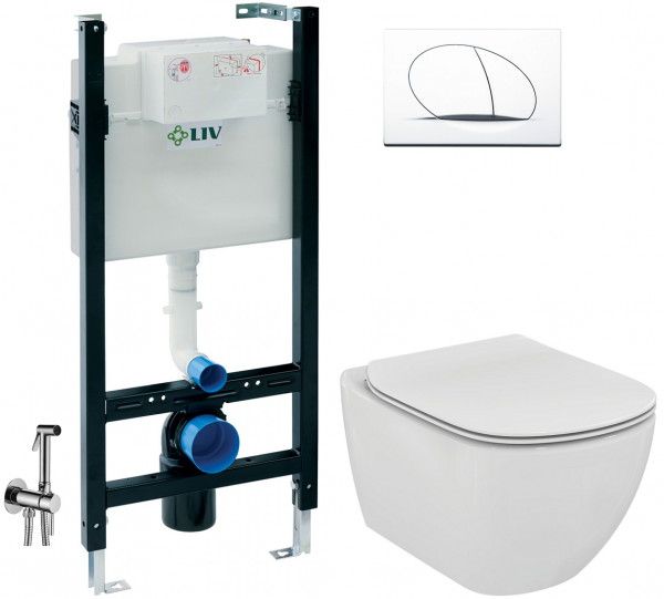 ALL IN ONE Incastrat - LIV + Ideal Standard Tesi Aquablade + Paffoni - Cu dus Igienic - Gata de montaj - Vas wc Suspendat Ideal Standard Tesi Aquablade + Capac softclose + Rezervor LIV 0