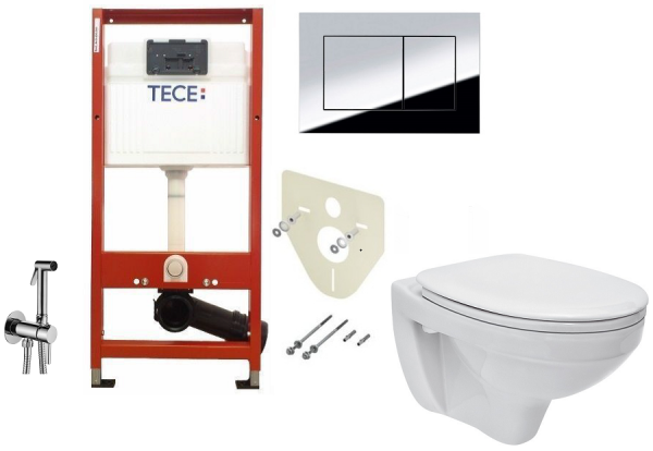 ALL IN ONE Incastrat - TECE + Cersanit Delphi  - Cu dus Igienic - Gata de montaj - Vas wc Suspendat Cersanit Delphi + Capac softclose + Rezervor TECE 0