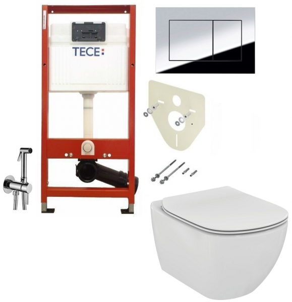ALL IN ONE Incastrat - TECE + Ideal Standard Tesi Aquablade + Paffoni - Cu dus Igienic - Gata de montaj - Vas wc Suspendat Ideal Standard Tesi Aquablade + Capac softclose + Rezervor TECE 0