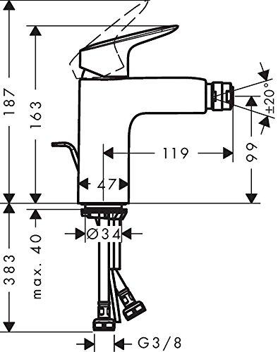 Baterie bideu Hansgrohe Logis 100 cu ventil Pop UP [1]