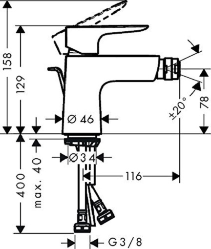 Baterie bideu Hansgrohe Talis E cu ventil Pop UP 1