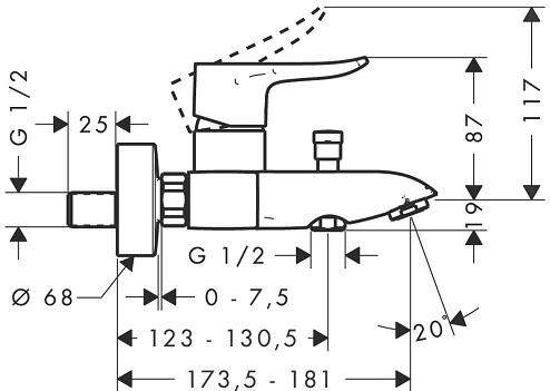 Baterie cada Hansgrohe Metris 1