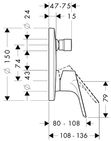 Baterie cada incastrata Hansgrohe Focus 1