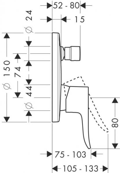 Baterie cada incastrata Hansgrohe Metris [1]
