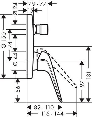 Baterie cada incastrata Hansgrohe Novus - Model 1 2