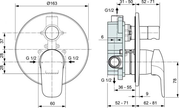 Baterie cada incastrata Ideal Standard Ceraflex - Corp ingropat inclus 1