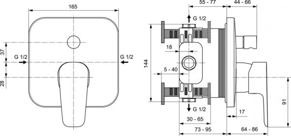 Baterie cada incastrata Ideal Standard Ceraplan III 1