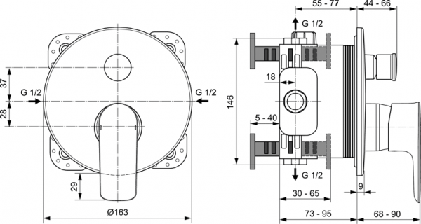 Baterie cada incastrata Ideal Standard Connect Air 1