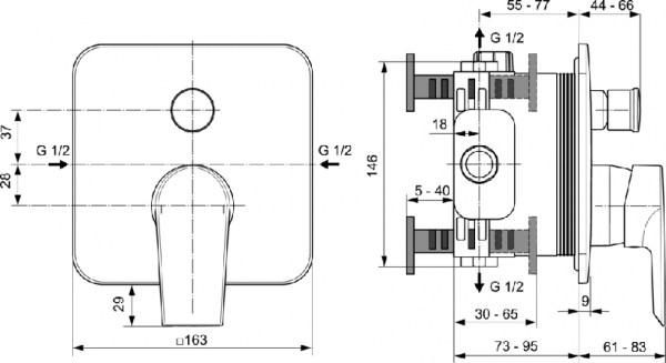 Baterie cada incastrata Ideal Standard Tesi 1