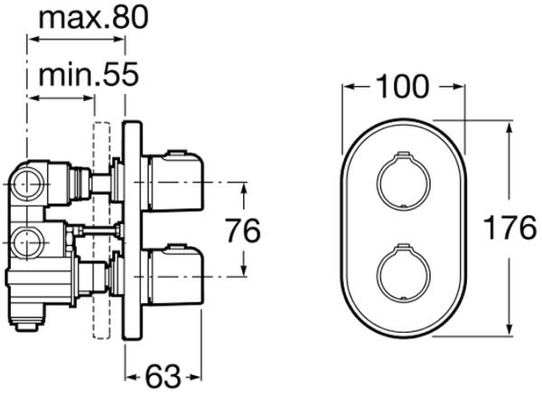 Baterie cada incastrata termostatata Roca T500 - Corp ingropat inclus 4