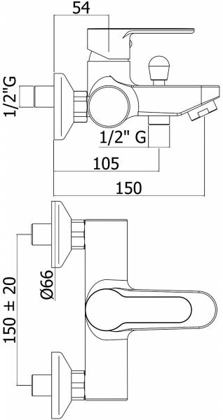 Baterie cada Paffoni BLU cu para, porter si furtun incluse 1