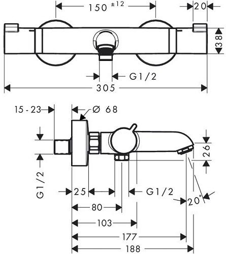 Baterie cada termostatata Hansgrohe Comfort 1